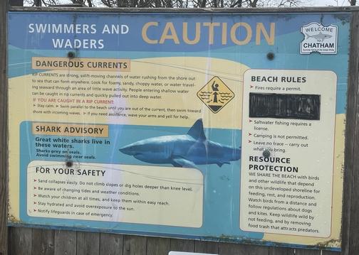 Caution sign at Chatham Beach