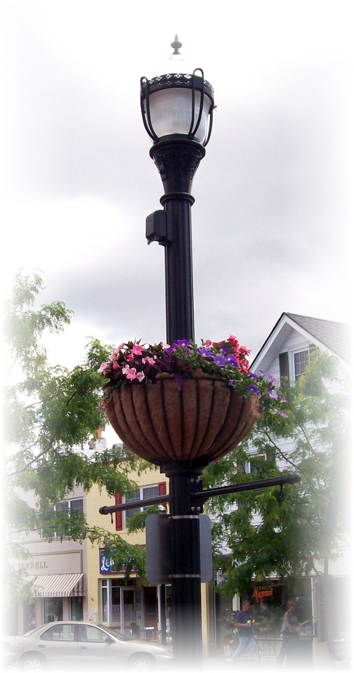 Lewes Delaware lightpole with flower basket
