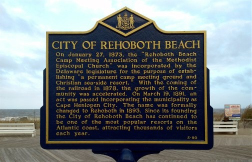Rehoboth Beach DE historical sign