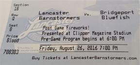 Lancaster Barnstormer ticket 8/26/16