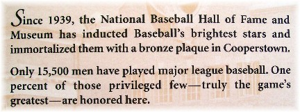 Baseball Hall Of Fame plaque in Cooperstown, New York