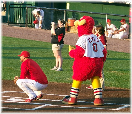 Cylo, the mascot for the Lancaster barnstormers baseball team