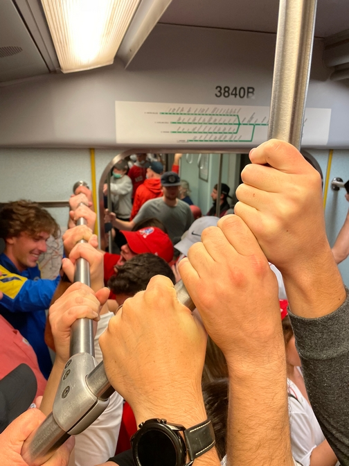 Packed train after Red Sox win