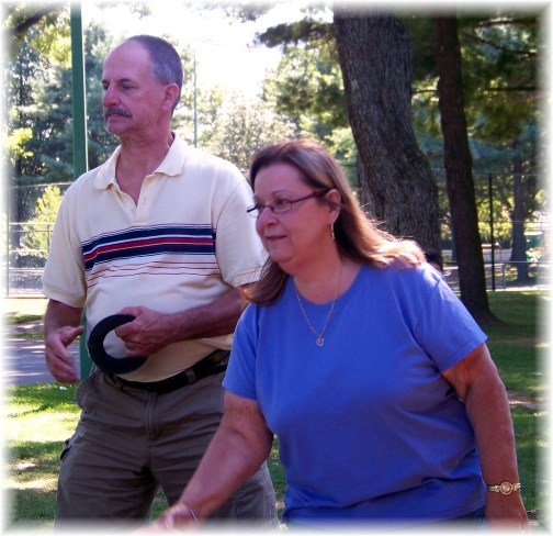 Larry and Tina playing quoits