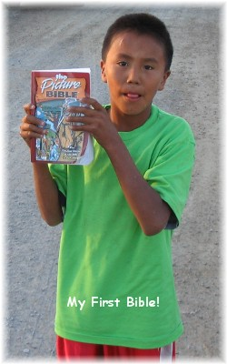 Indian boy with first Bible