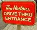 Tim Hortons drive through sign