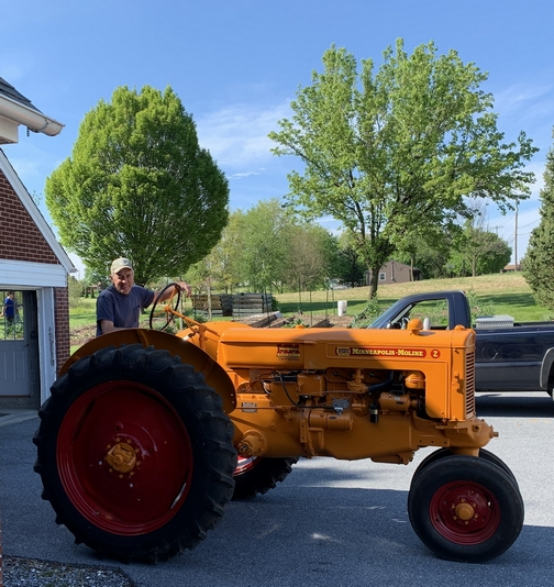 Galen with restored tractor 4/30/19 (Click to enlarge)