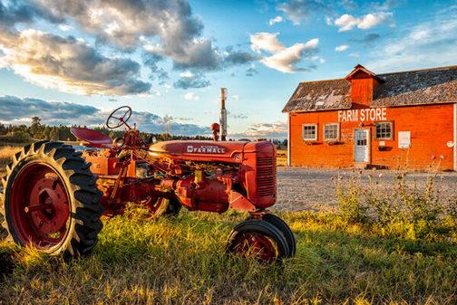 Tractor in Kalispell, Montana (photo by Howard Blichfeldt)