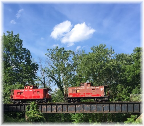 Cabooses on railroad trestle, Columbia County, PA 6/18/17 (Click to enlarge)