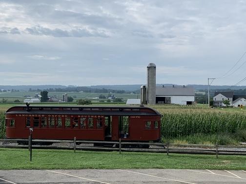 Trolley car on Strasburg railroad in Lancaster County