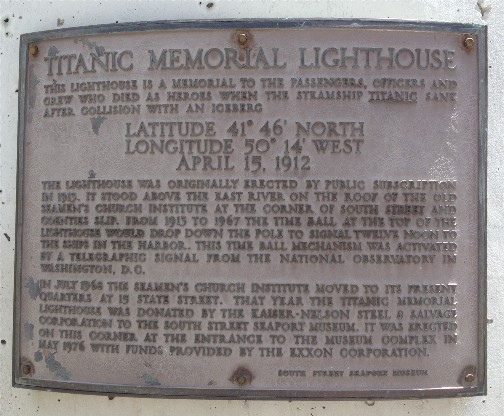 Titanic Memorial plaque 5/26/14