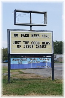 Church sign in Okay, Oklahoma