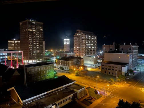 Bartlesville Oklahoma at night from Price Tower