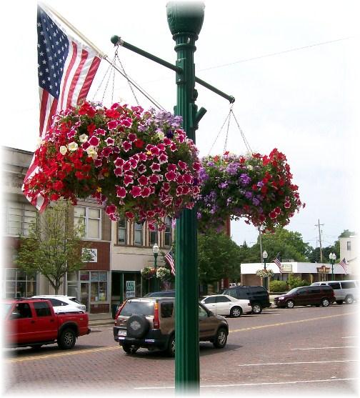 Delavan Wisconsin lamp post flowers 8/8/12