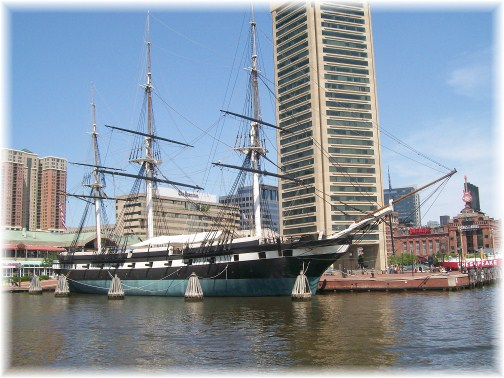 USS Constellation in Baltimore's inner harbor