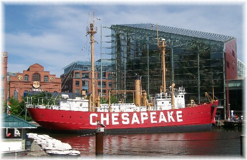 Lighthouse ship Chesapeake in Baltimore's inner harbor