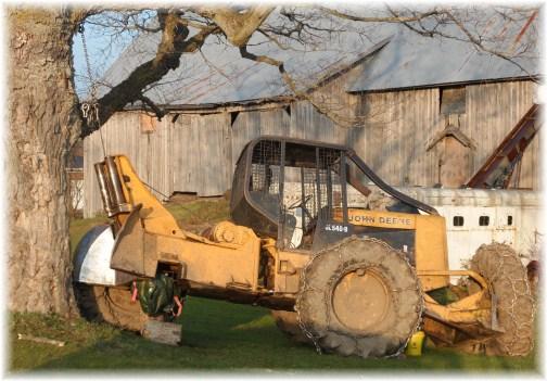 John Deere loader being repaired