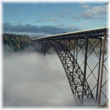 New River bridge in fog (Photo on NPS)