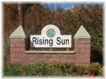 Welcome sign in Rising Sun, Maryland