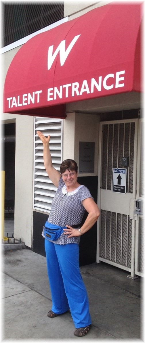 Brooksyne at talent entrance to Hollywood hotel