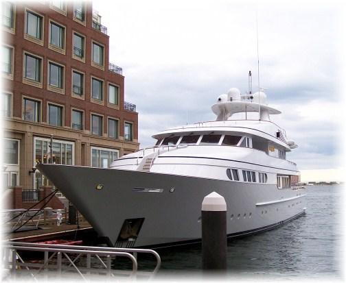 Yacht at Rowes Wharf, Boston