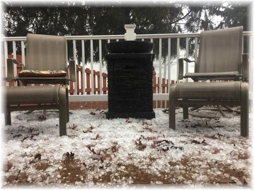 "Hail ""snow"" on deck 2/25/17"