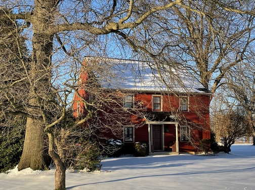 Lancaster County farmhouse in snow