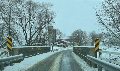 Lancaster County road in snow