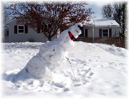 Leaning snowman 1/30/11