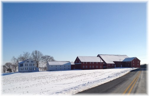 Red barns in snow 2/17/15
