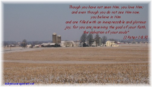 Winter farmview with Scripture 1 Peter 1:8,9