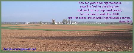 Spring farm scene with Hosea 10:12